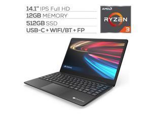 "Gateway Notebook Ultra Slim Laptop 14.1"" IPS FHD AMD Ryzen 3 3200U up to 3.50 GHz 12GB RAM 512GB SSD USB-C FP Reader Webcam HDMI Wi-Fi THX Audio Win 10 S Black"