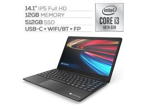 "Gateway Notebook Ultra Slim Laptop 14.1"" IPS FHD Intel Core i3-1005G1 Up to 3.4GHz 12GB RAM 512GB SSD USB-C FP Reader Webcam HDMI Wi-Fi THX Audio Win 10 S Black"