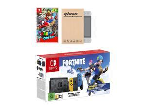 Nintendo Switch Fortnite Wildcat Edition and Game Bundle: Limited Console Set, Pre-Installed Fortnite, Epic Wildcat Outfits, 2000 V-Bucks, Super Mario Odyssey, Mytrix Tempered Glass Screen Protector