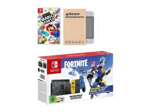 Nintendo Switch Fortnite Wildcat Edition and Game Bundle: Limited Console Set, Pre-Installed Fortnite, Epic Wildcat Outfits, 2000 V-Bucks, Super Mario Party, Mytrix Tempered Glass Screen Protector