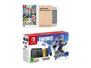 Nintendo Switch Fortnite Wildcat Edition and Game Bundle: Limited Console Set, Pre-Installed Fortnite, Epic Wildcat Outfits, 2000 V-Bucks, Super Smash Bros. Ultimate, Mytrix Glass Screen Protector