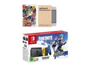 Nintendo Switch Fortnite Wildcat Edition and Game Bundle: Limited Console Set, Pre-Installed Fortnite, Epic Wildcat Outfits, 2000 V-Bucks, Super Bomberman R, Mytrix Tempered Glass Screen Protector