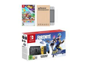 Nintendo Switch Fortnite Wildcat Edition and Game Bundle: Limited Console Set, Pre-Installed Fortnite, Epic Wildcat Outfits, 2000 V-Bucks, Paper Mario: The Origami King, Mytrix Glass Screen Protector