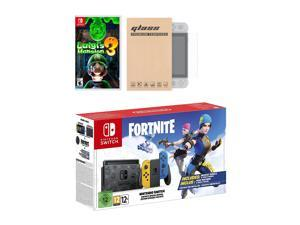 Nintendo Switch Fortnite Wildcat Edition and Game Bundle: Limited Console Set, Pre-Installed Fortnite, Epic Wildcat Outfits, 2000 V-Bucks, Luigi's Mansion 3, Mytrix NS Screen Protector
