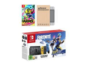 Nintendo Switch Fortnite Wildcat Edition and Game Bundle: Limited Console Set, Pre-Installed Fortnite, Epic Wildcat Outfits, 2000 V-Bucks, Arms, Mytrix Tempered Glass Screen Protector