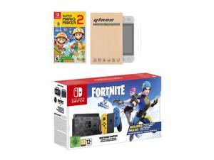 Nintendo Switch Fortnite Wildcat Edition and Game Bundle: Limited Console Set, Pre-Installed Fortnite, Epic Wildcat Outfits, 2000 V-Bucks, Super Mario Maker 2, Mytrix Tempered Glass Screen Protector