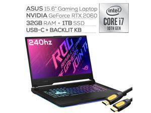"ASUS ROG Strix G15 Gaming Laptop, 15.6"" 240Hz 3ms FHD IPS-Type, Intel 8-Core i7-10870H up to 5.0 GHz, NVIDIA GeForce RTX 2060, 32GB RAM, 1TB SSD, WiFi 6, RGB KB, Mytrix HDMI Cable, Win 10"