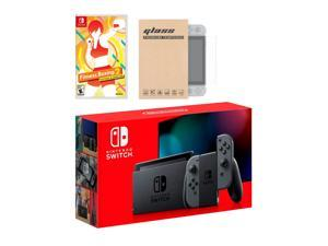 Nintendo Switch Gray Joy-Con Console Fitness Boxing 2: Rhythm & Exercise Bundle, with Mytrix Tempered Glass Screen Protector - Improved Battery Life Console with 2020 New Game