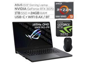 "ASUS ROG Zephyrus Gaming Laptop,165Hz 3ms WQHD 15.6"" Display,AMD Ryzen 9, GeForce RTX 3070 8GB GDDR6, 24GB RAM, 1TB SSD, USB-C, Backlit KB, WiFi 6, RJ-45 Ethernet, Mytrix Wireless Mouse, Win 10"