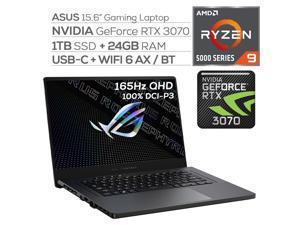 "ASUS ROG Zephyrus Gaming Laptop,165Hz 3ms WQHD 15.6"" Display,AMD Ryzen 9, GeForce RTX 3070 8GB GDDR6, 24GB RAM, 1TB SSD, USB-C, Backlit KB, WiFi 6, RJ-45 Ethernet, Win 10"