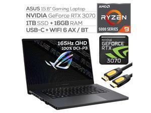 "ASUS ROG Zephyrus Gaming Laptop,165Hz 3ms WQHD 15.6"" Display,AMD Ryzen 9, GeForce RTX 3070 8GB GDDR6, 16GB RAM, 1TB SSD, USB-C, Backlit KB, WiFi 6, RJ-45 Ethernet, Mytrix HDMI Cable, Win 10"