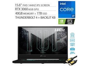 "2021 ASUS TUF Dash F15 3060 Gaming Laptop, 144Hz FHD 15.6"" 1080p, Intel Core i7-11370H, RTX 3060, 40GB RAM, 1TB SSD, Thunderbolt 4, Backlit KB, WiFi 6, Mytrix HDMI Cable, Win 10"