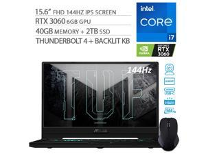 """2021 ASUS TUF Dash F15 3060 Gaming Laptop, 144Hz FHD 15.6"""" 1080p, Intel Core i7-11370H, RTX 3060, 40GB RAM, 2TB SSD, Thunderbolt 4, Backlit KB, WiFi 6, Mytrix Wireless Mouse, Win 10"""