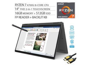 "Lenovo Flex 5 2-in-1 Touchscreen Laptop, 14"" FHD 1080p, AMD Ryzen 7 4700U 8-Core, 16GB 3200MHz RAM, 512GB SSD, FP Reader, Backlit KB, USB-C, Webcam, Pen, Mytrix HDMI Cable, Win 10"