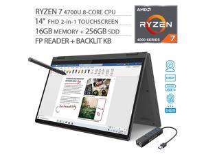 "Lenovo Flex 5 2-in-1 Touchscreen Laptop, 14"" FHD 1080p, AMD Ryzen 7 4700U 8-Core, 16GB 3200MHz RAM, 256GB SSD, FP Reader, Backlit KB, USB-C, Webcam, Pen, Mytrix Ethernet Hub, Win 10"