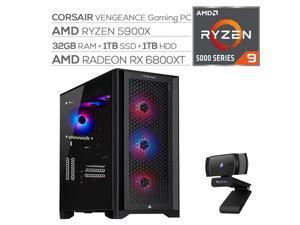 Corsair VENGEANCE Liquid Cool Desktop PC AMD Ryzen 9 5900X up to 4.80 GHz Radeon RX 6800 XT 16GB 32GB RAM 1TB SSD+1TB HDD USB-C WiFi 6 RJ-45 Ethernet Mytrix Webcam Win 10