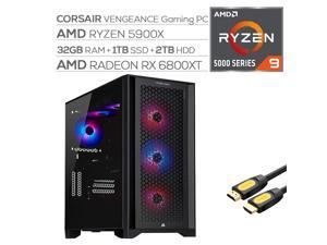 Corsair VENGEANCE Liquid Cool Desktop PC AMD Ryzen 9 5900X up to 4.80 GHz Radeon RX 6800 XT 16GB 32GB RAM 1TB SSD+2TB HDD USB-C WiFi 6 RJ-45 Ethernet Mytrix HDMI Cable Win 10