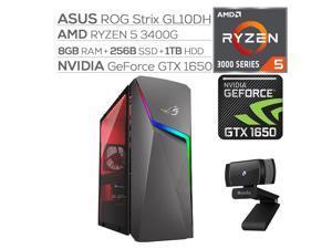 ROG Strix GL10DH Gaming Desktop, AMD Ryzen 5 3400G, GeForce GTX 1650 4GB, 8GB DDR4 RAM, 256GB SSD+1TB HDD, Wi-Fi, RJ-45 Ethernet, HDMI/DP/DVI, Mytrix Webcam, Win10 w/keyboard and mouse