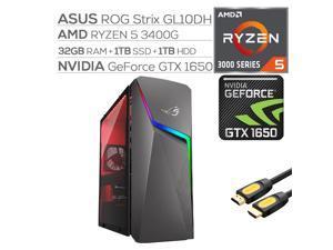 ROG Strix GL10DH Gaming Desktop, AMD Ryzen 5 3400G, GeForce GTX 1650 4GB, 32GB DDR4 RAM, 1TB SSD+1TB HDD, Wi-Fi, RJ-45 Ethernet, HDMI/DP/DVI, Mytrix HDMI Cable, Win10 w/keyboard and mouse