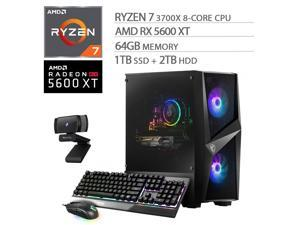 MSI Codex X ZS Gaming Desktop PC, AMD 8-Core Ryzen 7 3700X, Radeon RX 5600 XT, 64GB DDR4 RAM, 1TB SSD+2TB HDD, Wi-Fi 6, RJ-45 Ethernet, DP/HDMI/VGA, Mytrix Webcam, Win 10 w/keyboard and mouse
