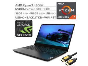 "Lenovo IdeaPad Gaming Laptop, 15.6"" 120Hz FHD IPS, Ryzen 7 4800H 8-Core, GeForce GTX 1650Ti, 32GB RAM, 512GB SSD+1TB HDD, Ethernet, Backlit KB, KeyPad, USB-C, Mytrix HDMI Cable, Win 10"
