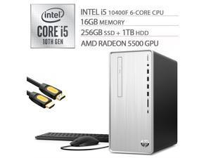HP Pavilion Desktop, Intel 6-Core I5-10400F, AMD Radeon 550, 16GB DDR4 RAM, 256GB PCIe SSD+1TB HDD, USB-C, DVD, RJ-45, Wi-Fi, HDMI/DP/DVI-D, Mytrix HDMI Cable, Win 10