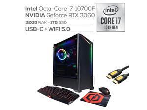 CyberPowerPC MSAAG3000 VR Gaming  Liquid Cool Desktop PC, GeForce RTX 3060, Intel 8-Core i7-10700F, 32GB RAM, 1TB PCIe SSD, USB-C, HDMI/DP, RJ-45, Wi-Fi, RGB Tower, Mytrix HDMI Cable, Win 10