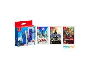Nintendo Joy-Con (L/R) The Legend of Zelda: Skyward Sword HD Limited Edition with The Legend of Zelda: Skyward Sword HD, Breath of the Wild & Hyrule Warriors: Age of Calamity and Mytrix Joystick Caps
