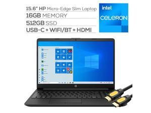 HP 15.6'' FHD Micro-Edge Slim Laptop, Intel Celeron N4020, 16GB DDR4 RAM, 512GB SSD, USB-C, HDMI, RJ-45, Wi-Fi, Webcam, Fast Charge, SD Reader, Mytrix HDMI Cable, Win 10