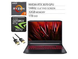 "Acer Nitro 5 3070 Gaming Laptop, 15.6"" FHD 144Hz Display, AMD Ryzen 7 5800H, GeForce RTX 3070, 32GB RAM, 1TB SSD, Backlit, USB-C, Wi-Fi 6, Killer RJ45, HDMI, Mytrix HDMI 2.1 Cable, Win 10"