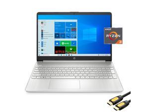 """HP 15.6"""" FHD Micro-Edge Slim Laptop, AMD Dual-Core Ryzen 3 3250U (Beat i3-10110U), 4GB RAM, 128GB SSD, USB-C, HDMI, Wi-Fi, Webcam, HP Fast Charge, SD Reader, Mytrix_HDMI Cable, Win 10"""