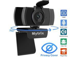 Webcam 1080p with Microphone and Privacy Cover, Noise Reduction, AutoFocus, Mytrix Full HD USB Web Camera for Laptop Desktop Zoom Meeting Skype FaceTime Hangouts YouTube