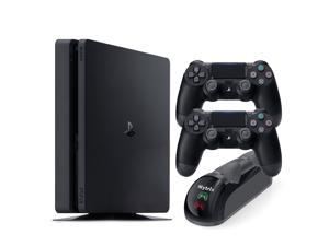 PlayStation 4 Slim 1TB Console with Two DualShock 4 Wireless Controller and Mytrix DS4 Fast Charging Dock