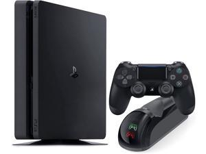 Playstation 4 Slim 500GB Console with Black Wireless Controller and Mytrix DS4 Fast Charging Dock