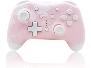 Wireless Controller for Nintendo Switch/Lite, Mytrix Wireless Pro Controllers with Auto-Fire Turbo, Motion Control, Wake-Up, Headphone Jack, Adjustable Vibration, Sakura Cherry Blossoms Pink
