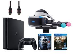 PlayStation VR Bundle (5 Items): PlayStation 4 Slim 500GB Console with Uncharted 4, VR Headset, Playstation Camera, Move Motion Controllers, Resident Evil 7: Biohazard VR Game Disc