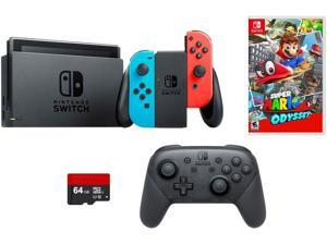 Nintendo Switch 4 items Bundle: Nintendo Switch 32GB Console Neon Red and Blue Joy-con, 64GB Micro SD Memory Card and an Extra Nintendo Switch Pro Wireless Controller, Super Mario Odyssey