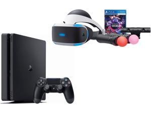 PlayStation VR Launch Bundle with Console (5 Items): Playstation VR Headset, PlayStation4 Slim 1TB Console- Jet Black, Playstation Camera, 2 Move Motion Controllers, and PSVR Worlds Game Disc
