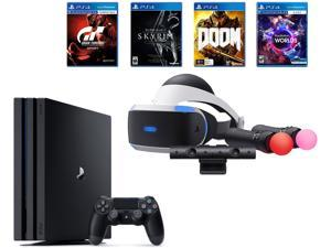 PlayStation 4 Pro Bundle (6 Items): VR Starter Bundle, PS4 Pro 1TB Console- Jet Black, 4 Game Discs: Gran Turismo Sport, Skyrim, Doom, and VR Worlds