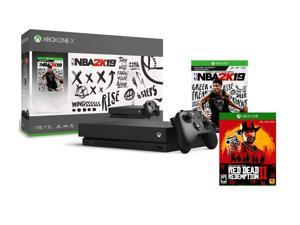 Xbox One X Red Dead 2K19 Bonus Bundle: Red Dead Redemption 2, NBA 2K19, Xbox Wireless Controller, Xbox One X 1TB 4K HDR Console - Black