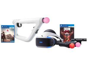PlayStation 4 VR Shooter Bundle (5 Items): PSVR Headset CUH-ZRV1, Farpoint Aim Controller Bundle, PSVR Doom Game, Playstation Camera, and 2 Move Motion Controllers
