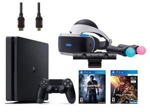 PlayStation VR Start Bundle 5 Items:VR Headset,Move Controller,PlayStation Camera Motion Sensor,PlayStation 4 Slim 500GB Console - Uncharted 4,VR Game Disc PSVR EVE-Valkyrie