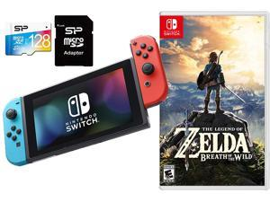 Nintendo Switch Zelda The Legend of Zelda Breath of Wild Bundle: 32GB Nintendo Switch Console with Neon Red and Blue Joy-Con, 128GB SD Card w/ Card Reader, and The Legend of Zelda: Breath of The Wild