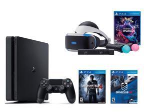 PlayStation VR Bundle 3 Items:VR Bundle,PlayStation 4 Slim 500GB Console - U,VR Game Disc PSVR DriveClub ncharted 4