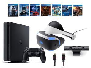 PlayStation VR Bundle (9 Items): PS4 Slim with Uncharted 4 Game, VR Headset, Playstation Camera, 6 VR Game Discs (Until Dawn: Rush of Blood, EVE: Valkyrie, Battlezone, Batman: Arkham, Driveclub, RIGS)