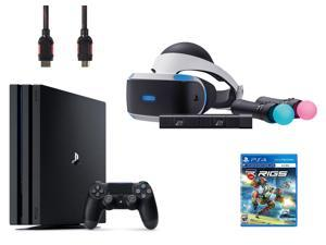PlayStation VR Starter Bundle (5 Items): PlayStation 4 Pro Console 1 TB, VR Headset, 2 Move Motion Controllers, PlayStation Camera, RIGS Mechanized Combat League Game Disc