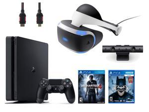 PlayStation VR Bundle (4 Items): PlayStation 4 Slim 500GB Console - Uncharted 4, VR Headset, Playstation Camera, Batman: Arkham VR Game Disc