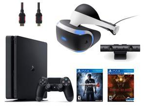 PlayStation VR Bundle (4 Items): PlayStation 4 Slim 500GB Console with Uncharted 4 Game, VR Headset, Playstation Camera, Until Dawn: Rush of Blood VR Game Disc