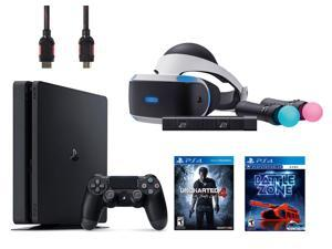 PlayStation VR Start Bundle 5 Items:VR Headset,Move Controller,PlayStation Camera Motion Sensor,PlayStation 4 Slim 500GB Console - Uncharted 4,VR Game Disc PSVR Battlezone