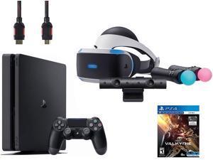 PlayStation VR Start Bundle (5 Items): VR Headset, Move Controller, PlayStation Camera Motion Sensor, Sony PS4 Slim 1TB Console - Jet Black, VR Game Disc PSVR EVE Valkyrie